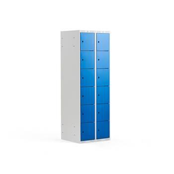 Szafka osobista 2 sekcje, 12 schowków, niebieskie drzwi