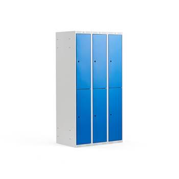 Småfackskåp, 300 mm, 3 sektioner, 6 fack, blå