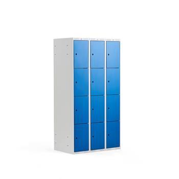 Småfackskåp, 300 mm, 3 sektioner, 12 fack, blå