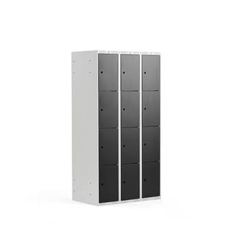 4 door locker, 3 modules, 1740x900x550 mm, black
