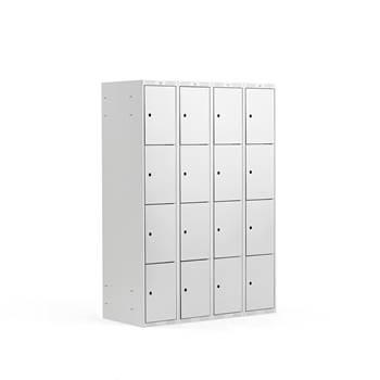 Småfackskåp, 300 mm, 4 sektioner, 16 fack, grå
