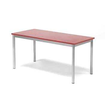 Pax table, 1200x600x600 mm, red linoleum, alu grey