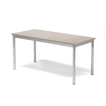 Pax table, 1200x600x600 mm, grey linoleum, alu grey