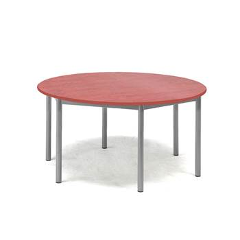 Pax table, Ø900x600 mm, red linoleum, alu grey