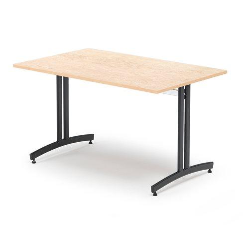 #sv Lunchrumsbord, 1200x700 mm, beige linoleum, svart