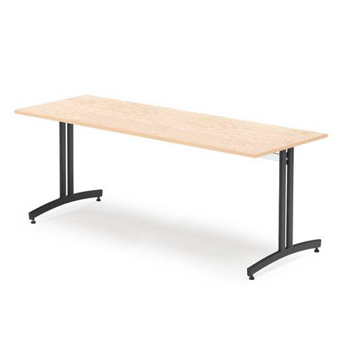 #sv Lunchrumsbord, 1800x700 mm, beige linoleum, svart