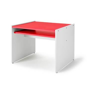 Lek- og spillbord Mille, hvite sider / rød bordplate