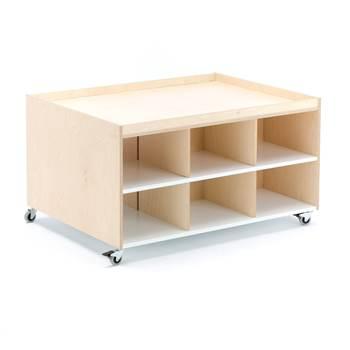 Lekebord Emma 1000x750x560 mm, bjørk, hvit