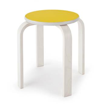 Björk wooden stool, H 350 mm, yellow