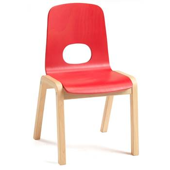 Scala children's chair, H 380 mm, beech, red