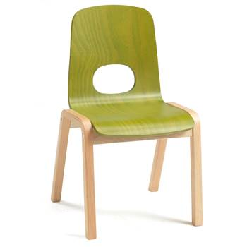 Scala children's chair, H 380 mm, beech, green