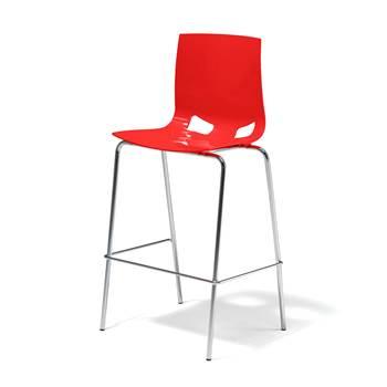 Czerwony stołek barowy z polipropylenu
