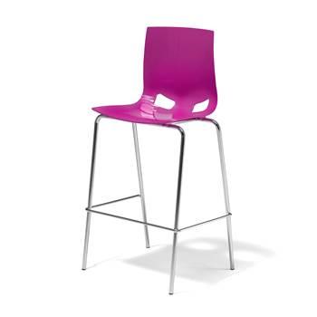 Purpurowy stołek barowy z polipropylenu