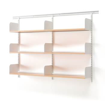 Wall mounted wide shelving unit, 1600x300x1230 mm, beech, white