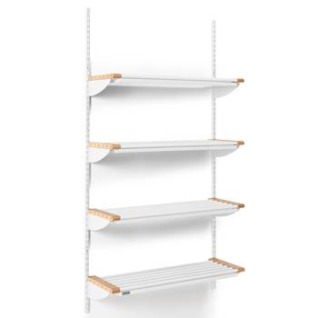 Jeppe cloakroom shelves, basic unit, 900x1800 mm, beech, white