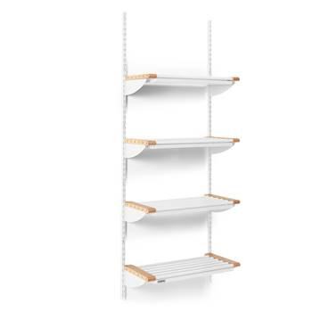 Jeppe cloakroom shelves, basic unit, 600x1800 mm, beech, white