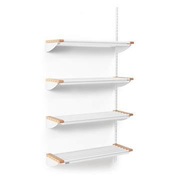 Jeppe cloakroom shelves, add-on unit, 900x1800 mm, beech, white