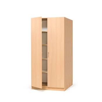 Wooden storage cabinet with full-height doors, 1000x600x2100 mm, beech
