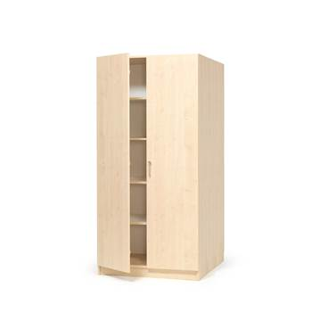 Wooden storage cabinet with full-height doors, 1000x600x2100 mm, birch