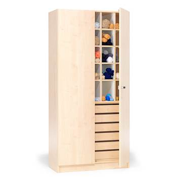 Textile cabinet with pigeon holes and drawers, 1000x470x2100 mm, birch