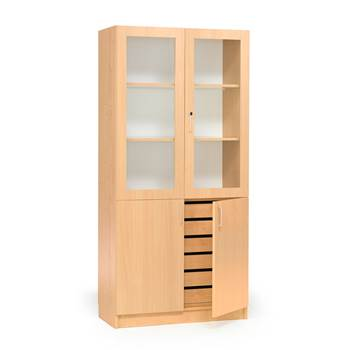 Textile cabinet with drawers and half glass doors, 1000x470x2100 mm, beech