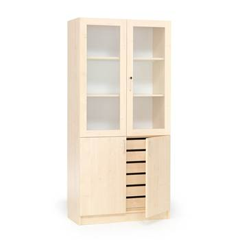 Textile cabinet with drawers and half glass doors, 1000x470x2100 mm, birch
