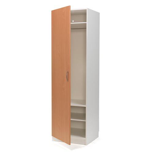 #sv Klädgarderob vit/bok vänsterhängd dörr med klädstång och