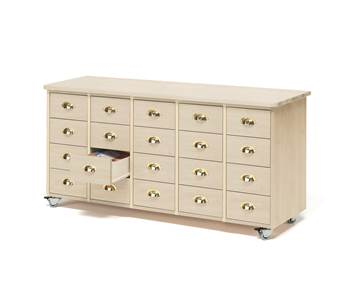 Mobile merchant chest, 20 drawers, cup handle, birch