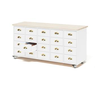 Mobile merchant chest, 20 drawers, cup handle, white