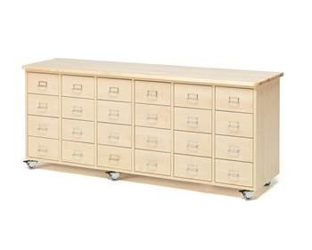 Komoda z szufladami, uchwyt z ramką na etykietę, 24 szuflady, brzoza