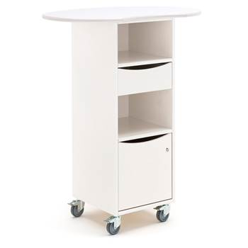 Mobile lectern with large desktop, white