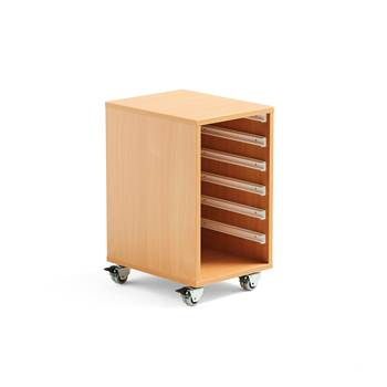 Wooden tray storage unit, 1 column, 350x450x635 mm, beech