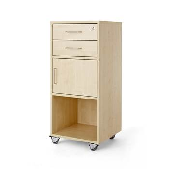 Mobile lectern with two drawers and cupboard, 460x450x1045 mm, birch