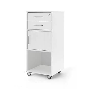 Mobile lectern with two drawers and cupboard, 460x450x1045 mm, white