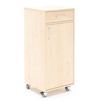 Mobile lectern with drawer and large cupboard, 460x450x10450 mm, birch