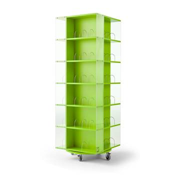 Astrid mobile book display rack, 560x560x1650 mm, green