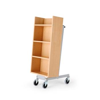 Bike bookcase trolley, 520x480x1090 mm, beech