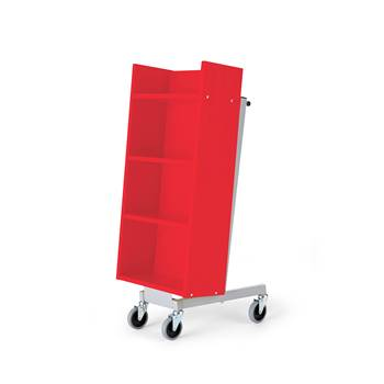Bike bookcase trolley, 520x480x1090 mm, red