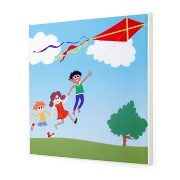 Noise absorbing panels, 1200x1200x60 mm, kite-flying mural
