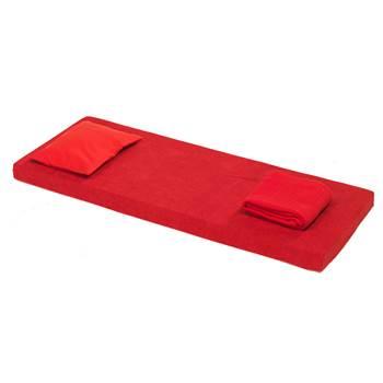 Zestaw z materacem Nattis, włókno poliestrowe, czerwony
