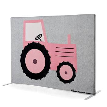 Noise absorbing floor screen, 1240x1000 mm, pink tractor and green horse