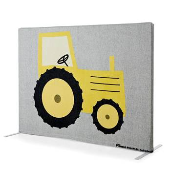 Noise absorbing floor screen, 1240x1000 mm, yellow tractor and cow