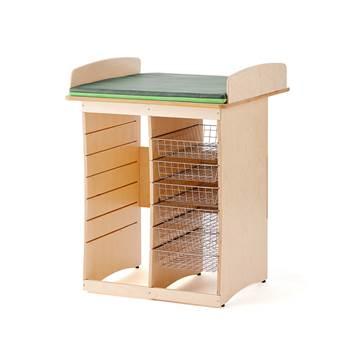 Skötbord Björk, 800 mm, 6 korgar
