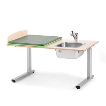Elit Height-adjustable baby changing table, incl, R/H sink, 1200x800 mm