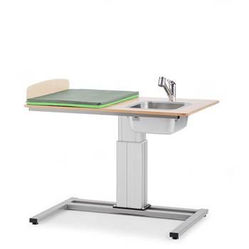 Elin Height-adjustable baby changing table, incl, R/H sink, 1200x800 mm