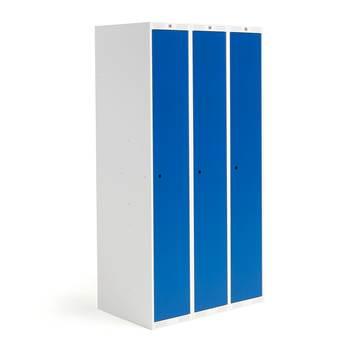 Elevskåp Roz, helskåp, 3 sektioner, 900 mm, blå dörrar