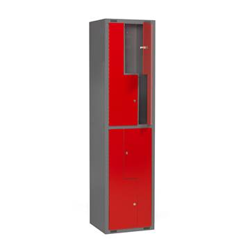 Mini Z-locker, 1 module, 4 doors, 1980x500x450 mm, red
