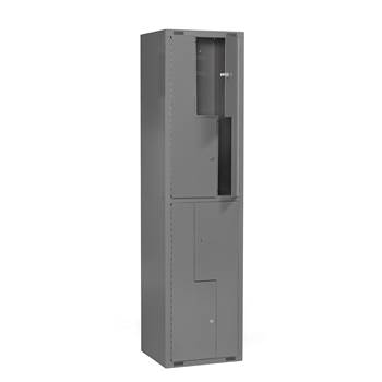 Mini Z-locker, 1 module, 4 doors, 1980x500x450 mm, dark grey