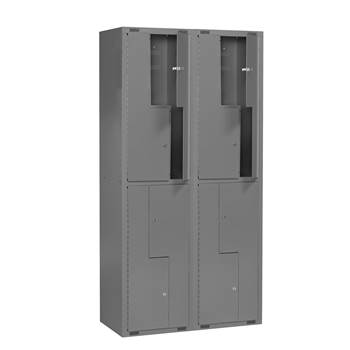 Mini Z-locker, 2 modules, 8 doors, 1980x1000x450 mm, dark grey