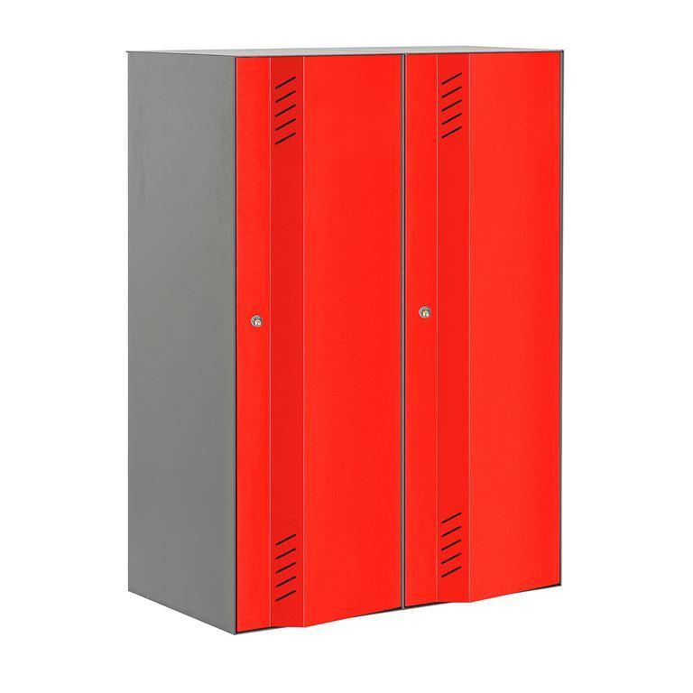 Szafa ubraniowa Create Energy, 2 sekcje, 1200x800 mm, szary korpus, czerwon